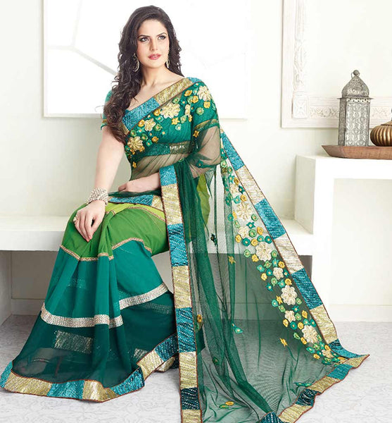 ZAREEN KHAN GLAMOROUS GREEN NET & GEORGETTE SARI VSES7421