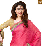 DAZZLING DUSTY PINK AND OFF-WHITE PARTY WEAR SARI WITH CHOLI