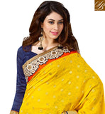 ENERGETIC YELLOW AND NAVY BLUE PARTY WEAR SARI WITH ART-SILK BLOUSE