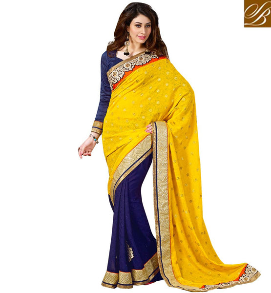 SHOP BRANDED PARTY WEAR SAREE WITH PRETTY BLOUSE AT AFFORDABLE PRICE