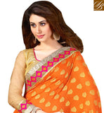 SIMPLY IRRESISTIBLE ORANGE AND BEIGE PARTY WEAR SAREE BLOUSE COMBO