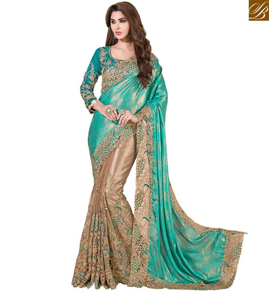 BEAUTIFUL DESIGNER SAREE DESIGN VDSNZ7551 BY SEA GREEN & BEIGE
