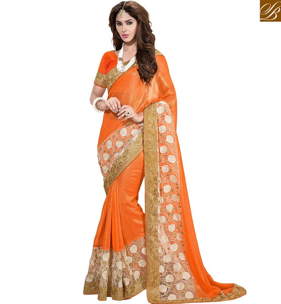STYLISH BAZAAR APPEALING FLOWERY EMBROIDERED SAREE DESIGN VDSNZ7555