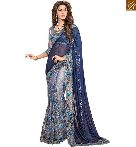 ENTICING FLOWERY PATTERNED DESIGNER SAREE FOR PARTIES VDSNZ7565  BY STYLISH BAZAAR