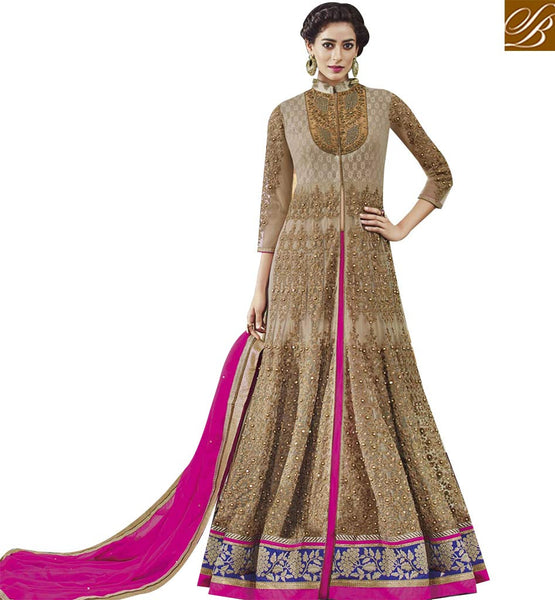 STYLISH BAZAAR LOVELY BEIGE NET DESIGNER ANARKALI SALWAR KAMEEZ WITH STONE WORK AND EMBROIDERED FLCE7376