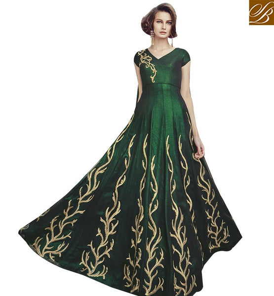 STYLISH BAZAAR MARVELLOUS GREEN GEORGETTE ANARKALI SALWAR KAMEEZ GOWN STYLE FLCE7377