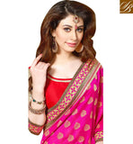 STUNNING PINK AND BEIGE PARTY WEAR SARI BLOUSE DESIGN