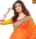 STRIKING ORANGE AND YELLOW COLOR COMBINATION GEORGETTE SAREE
