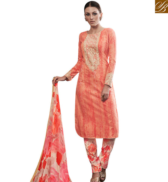 STYLISH BAZAAR PEACH COTTON SATIN DESIGNER SALWAR KAMEEZ HAVING BEST WORK ON CHEST AREA AMFS7601