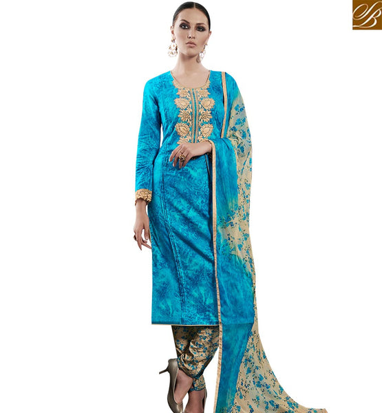 STYLISH BAZAAR ATTRACTIVE SKY BLUE COTTON SATIN DESIGNER STRAIGHT CUT SALWAR KAMEEZ AMFS7602