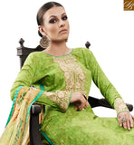 A STYLISH BAZAAR PRESENTATION MAGNIFICENT GREEN DESIGNER STRAIGHT CUT SALWAR KAMEEZ HAVING MODERN TROUSER & DUPATTA AMFS7604