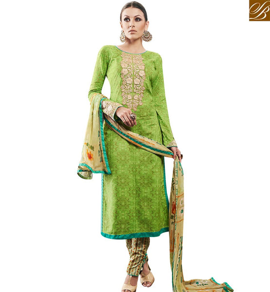 STYLISH BAZAAR MAGNIFICENT GREEN DESIGNER STRAIGHT CUT SALWAR KAMEEZ HAVING MODERN TROUSER & DUPATTA AMFS7604