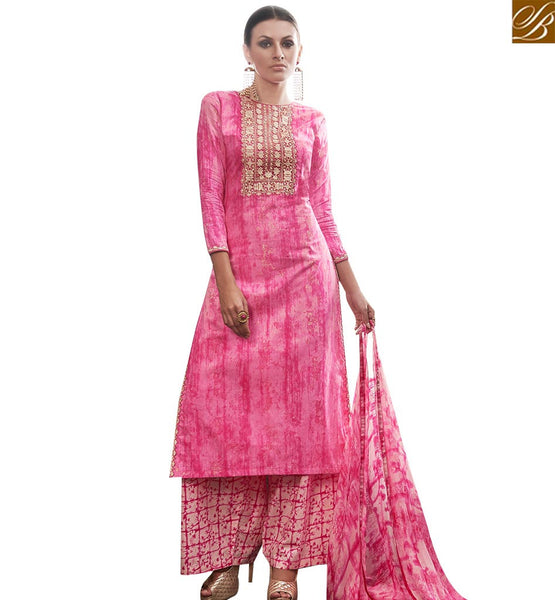 STYLISH BAZAAR EYE CATCHING PINK DESIGNER STRAIGHT CUT SALWAR KAMEEZ WITH PLAZZO STYLE AMFS7605