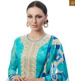 FROM STYLISH BAZAAR BEAUTIFUL SKY BLUE DESIGNER STRAIGHT CUT SALWAR KAMEEZ WITH BEST PRINTED TROUSER AMFS7606