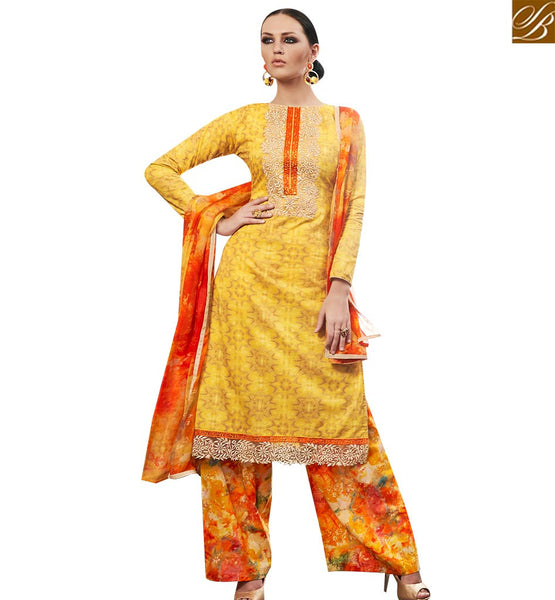 STYLISH BAZAAR LOVELY YELLOW STRAIGHT CUT DESIGNER SALWAR KAMEEZ WITH PLAZZO STYLE AMFS7607