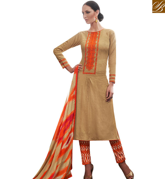STYLISH BAZAAR GLAMAROUS BEIGE STRAIGHT CUT DESIGNER SALWAR KAMEEZ KEEP ORANGE THREAD WORK AMFS7608