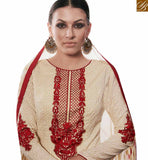 A STYLISH BAZAAR PRESENTATION DAZZLING CREAM STRAIGHT CUT SALWAR KAMEEZ HAVING MAROON EMBROIDERY WORK AMFS7610