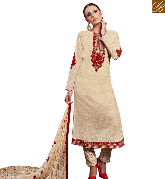 STYLISH BAZAAR DAZZLING CREAM STRAIGHT CUT SALWAR KAMEEZ HAVING MAROON EMBROIDERY WORK AMFS7610