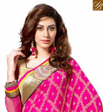 AWESOME PINK AND YELLOW PARTY WEAR SARI WITH CHOLI