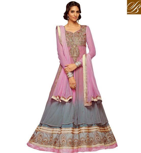STYLISH BAZAAR INTRODUCES GLAMOROUS GREY & PINK COLOR ANARKALI SUIT KMV7711