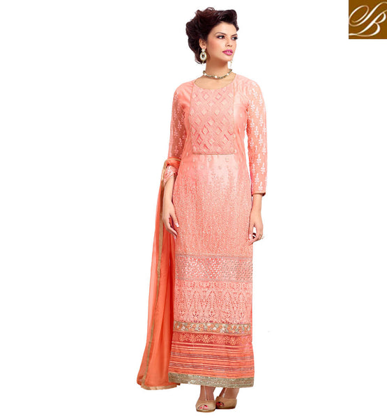 BEAUTIFUL PUNJABI SALWAR KAMEEZ LATEST DRESSES 2015 FASHION TRENDS IN INDIA PURE GEORGETTE ORANGE LONG SUIT WITH SANTOON BOTTOM AND NAZNEEN DUPATTA