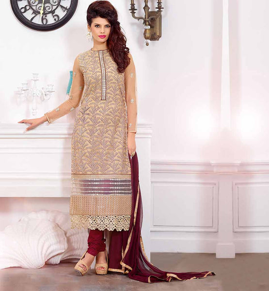 BEAUTIFUL PUNJABI SALWAR KAMEEZ LATEST DRESSES 2015 FASHION TRENDS IN INDIA BEIGE PURE GEORGETTE TOP WITH MAGENTA SANTOON SHALVAR AND NAZNEEN DUPATTA