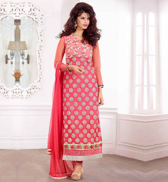 EVER STYLISH PUNJABI SUITS BOUTIQUE WOMEN'S SALWAR KAMEEZ DRESSES PATTERNS DUSTY PINK PURE GEORGETTE QAMEEZ WITH SANTOON SHALVAR AND NAZNEEN ODHNI