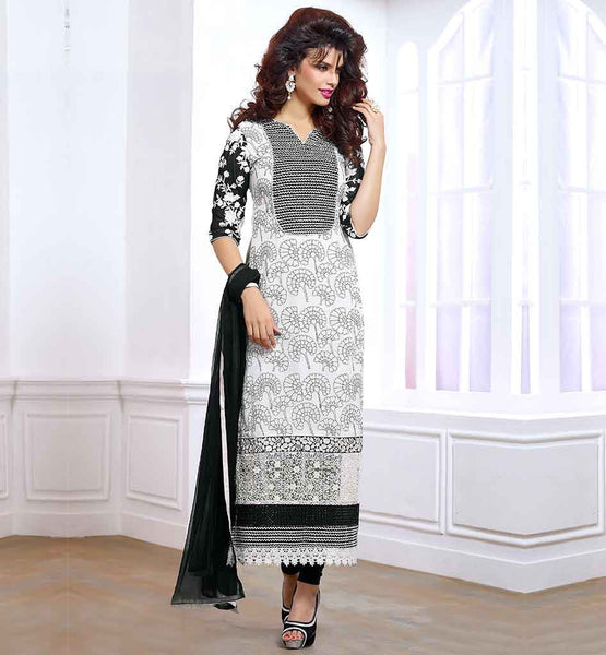DESIGNER PUNJABI SUITS BOUTIQUE WOMEN'S SALWAR KAMEEZ FROCK ONLINE, SUPERB COMBINATION OF PRINT AND EMBROIDERY OFF-WHITE PURE GEORGETTE QAMEEZ BLACK SANTOON SHALVAR