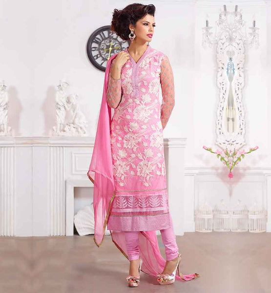 FASHION DESIGN 2015 BEST DRESS SALWAR KAMEEZ DESIGNS LATEST PUNJABI SUITS PURE GEORGETTE PINK SUIT WITH EXCITING SANTOON SHALVAR AND NAZNEEN STOLE