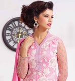 PURE GEORGETTE PINK SUIT WITH EXCITING SANTOON SHALVAR AND NAZNEEN STOLE SIZZLE AT THE PARTIES BY WEARING THIS LOVELY STRAIGHT CUT APPAREL WITH AWESOME EMBROIDERY