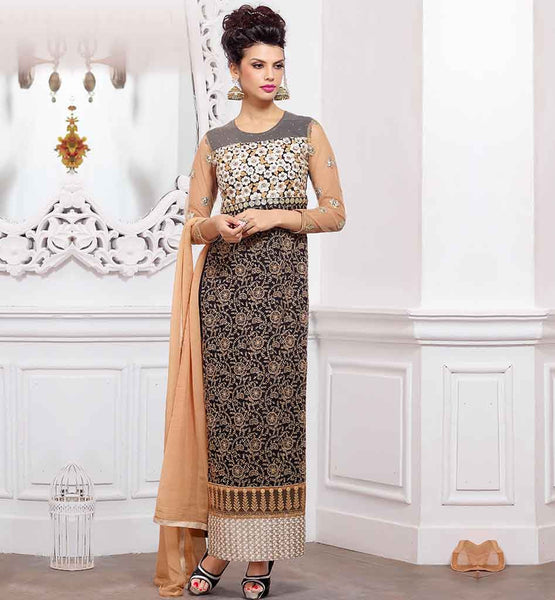 INDIAN DESIGNERS WORK SALWAR KAMEEZ DESIGNS  LATEST SUIT PATTERNS 2015 PURE GEORGETTE BLACK TOP WITH LOVELY SHALVAR AND CONTRAS BEIGE NAZNEEN ODHNI