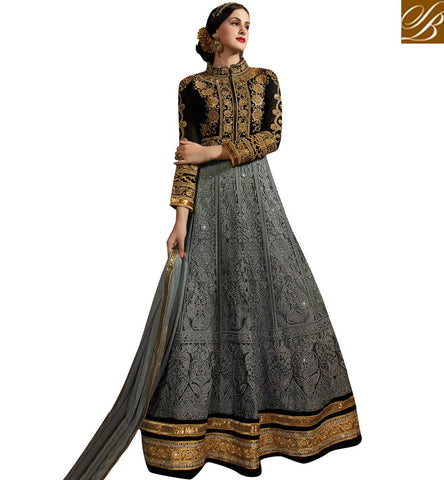 STYLISH BAZAAR EMBROIDERED NET PARTY WEAR DESIGNER GOWN STYLE PUNJABI DRESS ONLINE SYB77