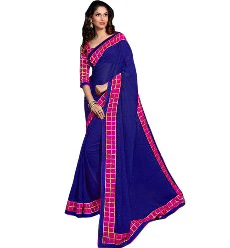 BEAUTIFUL BLUE GEORGETTE DESIGNER SARI RTJA7924 - STYLISHBAZAAR - Casual Sarees, Online Saree Shopping, Party Wear Sarees, Art-Silk Sarees, designer Sarees, Online Sarees Shopping, Sarees Shopping, Printed Sarees, 2014 Saree Designs,Latest Sarees Designs, designer sarees buy online, designer saree buy online