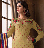 2015 DESIGN LADIES WEAR SALWAR KAMEEZ DRESS MATERIAL SHOP ONLINE CHIKOO