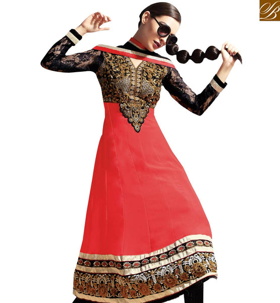 STYLISH BAZAAR MIND BLOWING RED & BLACK COLORED DESIGNER SALWAR KAMEEZ RTASM7