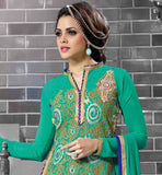 COOL AND SOFT LOOK SEA GREEN SALWAR SUIT WITH SMART COMBINATION GREEN SALWAR AND BORDERED NAZNEEN CHIFFON DUPATTA