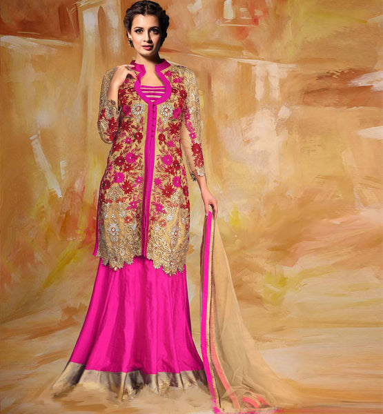 Dia Mirza Pink Silk lehenga with Cream Choli
