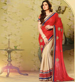 HOT BOLLYWOOD CELEBRITY ZARINE KHAN STYLE TRENDY DUAL TONE SAREE