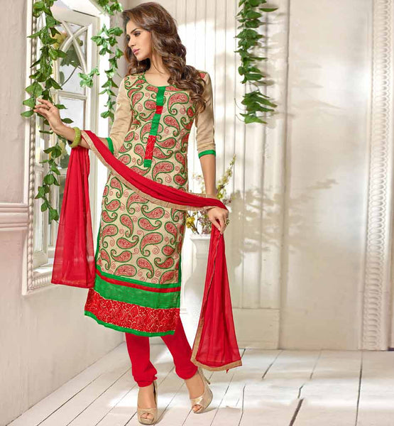 BEIGE CASUAL WEAR CHANDERI COTTON SALWAR KAMEEZ WITH RED DUPATTA VDANT7007