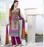 GREY & ORANGE DESIGNER PARTY WEAR SALWAR SUIT