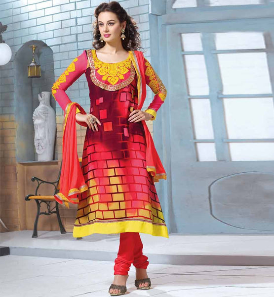 MODERN STYLE PRINTED SALWAR KAMEEZ EMBROIDERY ON NECK BACK & SLEEVES
