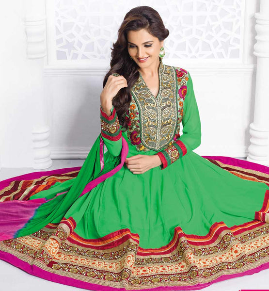 MONICA BEDI GREEN PARTY WEAR GEORGETTE ANARKALI SALWAR KAMEEZ WITH NAZNEEN DUPATTA