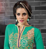 PICTURE OF NEW DESIGN SALWARSUIT YOKE PATTERN GREEN GEORGETTE FABRIC