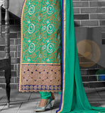 UNIQUE LOOK EMBROIDERY ON HELMLINE OF SALWAR FOR IMPRESSION WITH SANTOON BOTTOM AND NAZNEEN CHIFFON BORDERED DUPATTA
