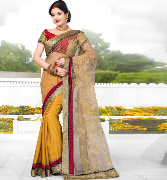 RICH LOOK DESIGNER OCCASION WEAR SAREE CREAM MUSTARD SATIN CHIFFON