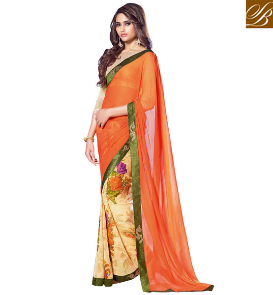 LATEST FASHION SAREES WITH VELVET LACE BORDER EXCITING GEORGETTE SARI WITH ART SILK BLOUSE