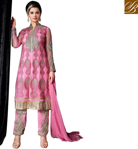 BUY ONLINE KASHMIRI STYLE SALWAR KAMEEZ FOR WOMEN  SUPERB PINK NET DRESS WITH SANTOON BOTTOM-INNER AND CHIFFON DUPATTA