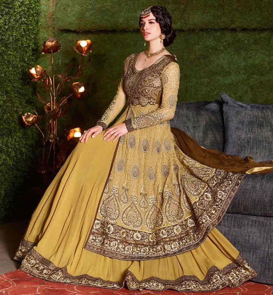 RICH DESIGNER WEDDING WEAR GOWN AT BEST PRICE  ENCHANT EVERYBODY WITH THIS CLASSY CREAM NET AND GEORGETTE DUAL LAYERED DRESS