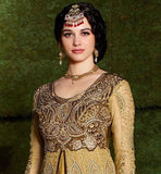 ENCHANT EVERYBODY WITH THIS CLASSY CREAM NET AND GEORGETTE DUAL LAYERED DRESS  THIS SUPERB DRESS ENHANCED WITH HEAVY ZARI, EMBROIDERY WORK, STONEWORK AND FANCY LACE BORDER AND COMES WITH CHIFFON DUPATTA