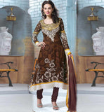 CUTE COFFEE SALWAR KAMEEZ BEAUTIFUL PRINT LATEST EMBROIDERY DESIGN